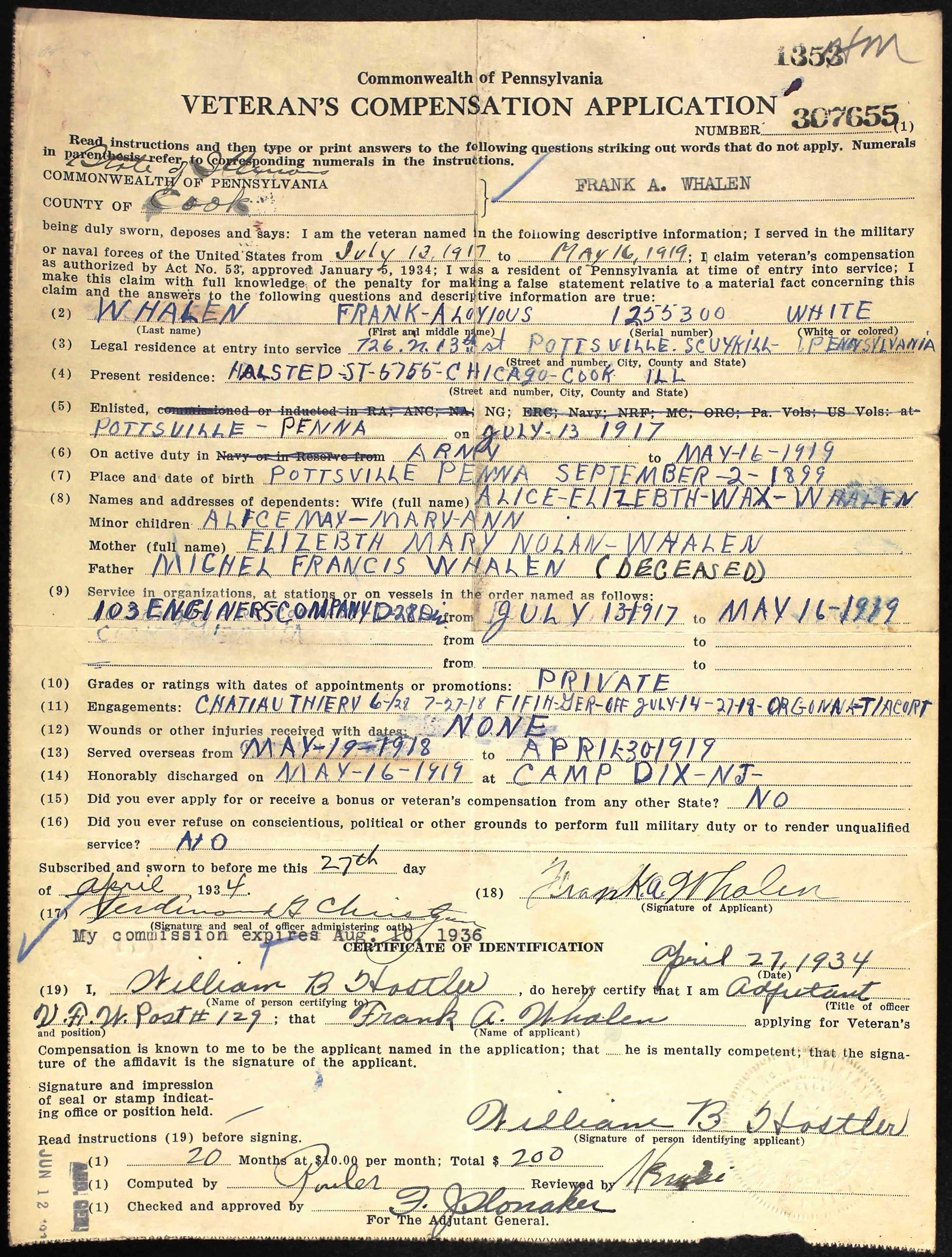 Frank Whalen Bonus Army Application