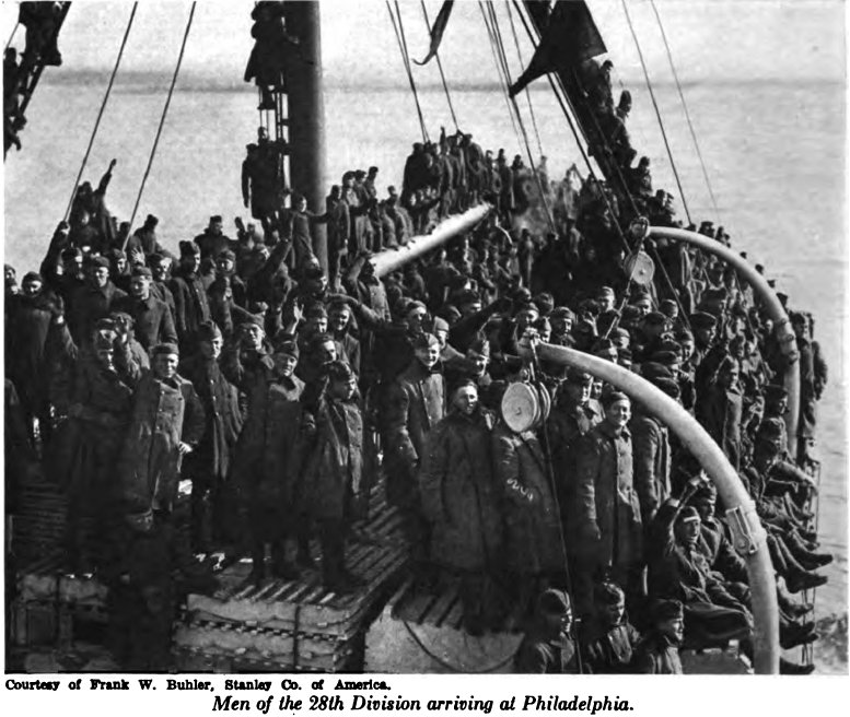 Men of 28th Div arriving Phila 1919