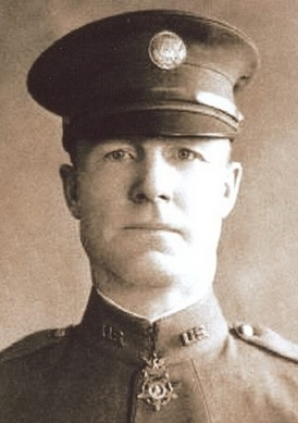 Samuel Woodfill wearing the Medal of Honor he earned by charging and disabling three machine gun nests during World War I