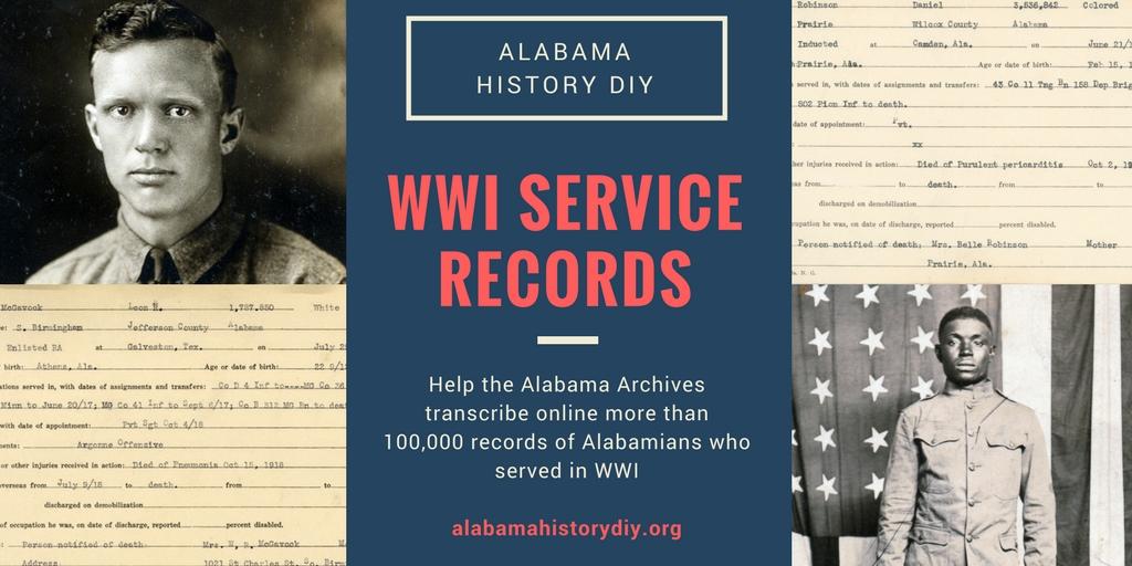 Alabama History DIY: WWI Service Records - World War I Centennial
