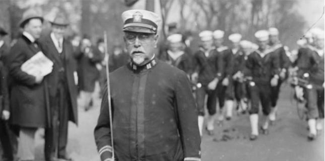 Sousa leading a marching band during WWI