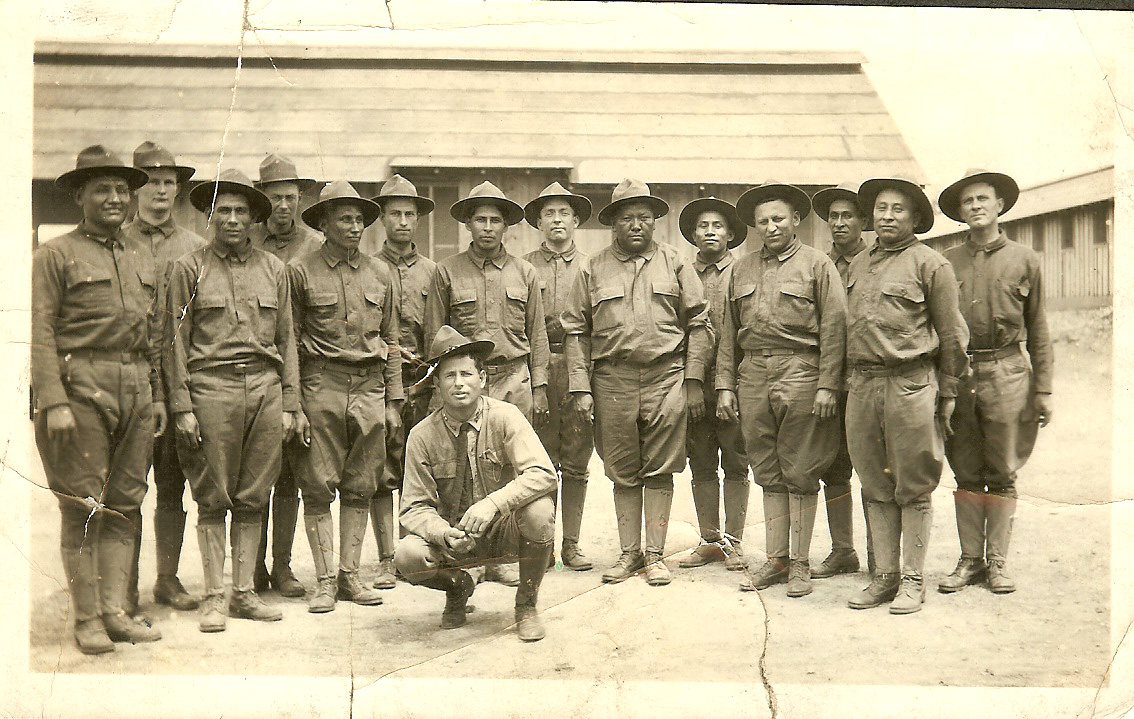 Captain Ben Davis Locke (Choctaw) with American Indian soldiers