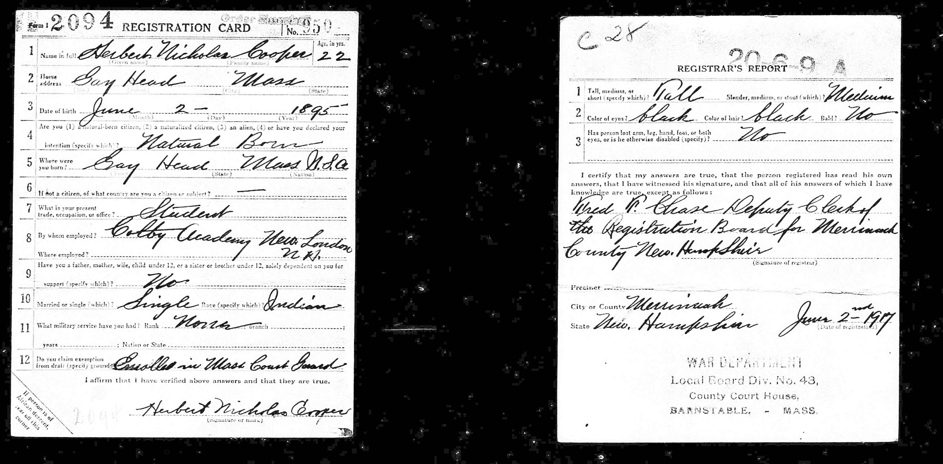 Herbert Cooper (Wampanoag) draft registration card