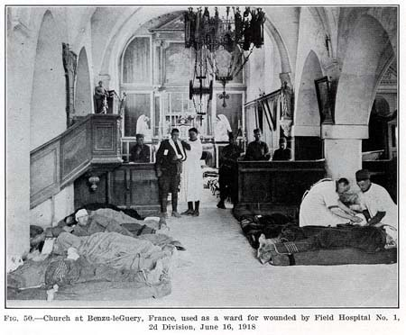 AEF FIELD HOSPITAL #1 in church, France, June 16 1918