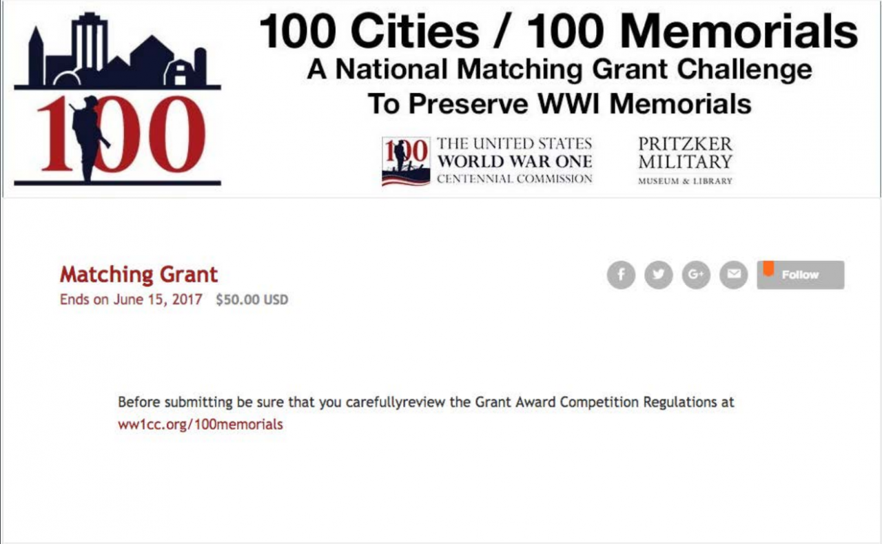 9 Weeks Left to Submit a Matching  Grant Application for Restoring Your Local WW1 Memorial.