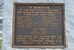 Hartwell - World War I Memorial Marker
