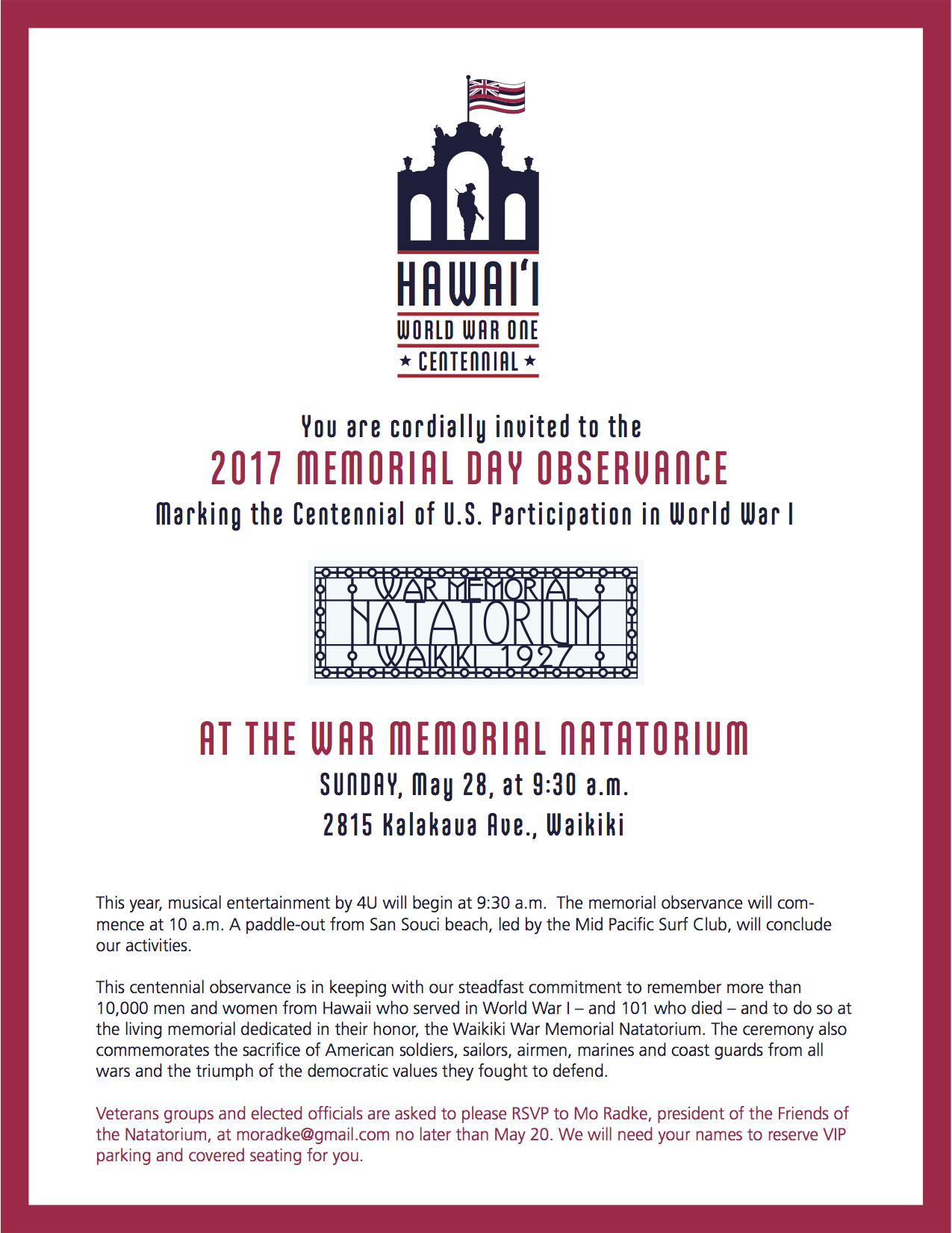 Memorial Day Invitation copy