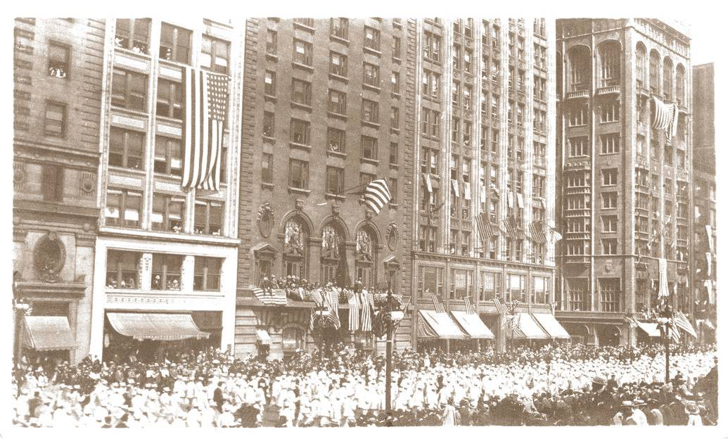 postcard chicago michigan ave preparedness parade getting people ready for ww i 1916