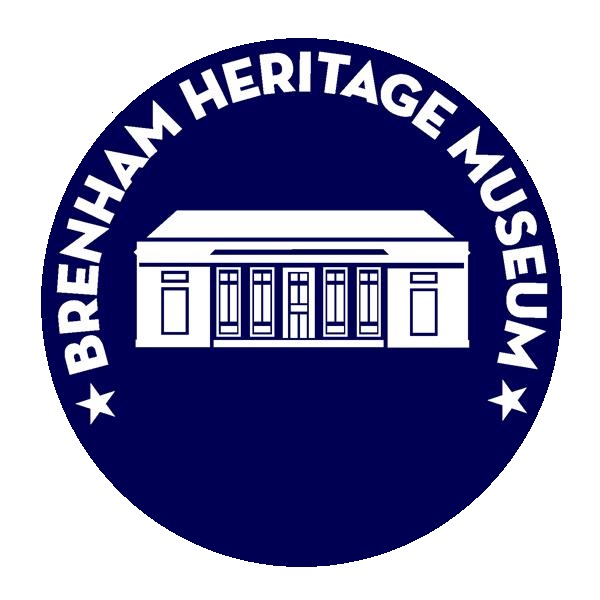 Brenham Logo in museum blue