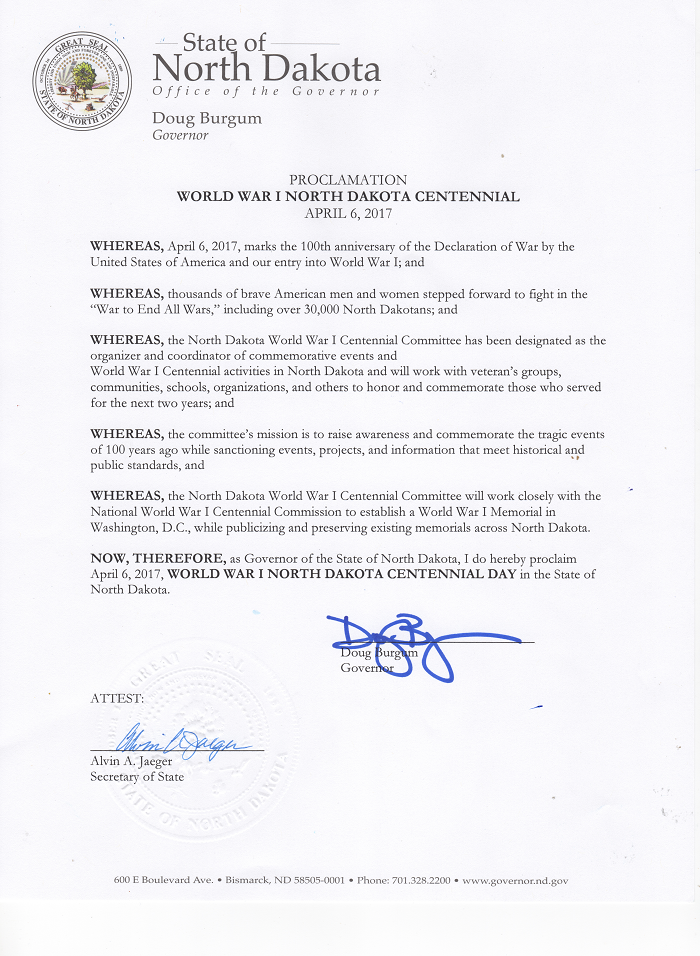 Signed Proclamation by Governer Burgum declaring April 6th, 2017 as World War I North Dakota Centennial Day