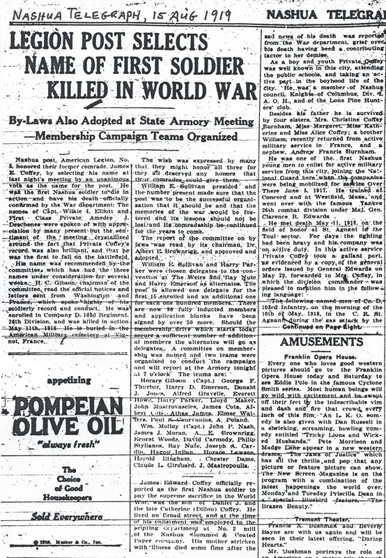 1919 Aug 15 Telegraph LEGION POST SELECTS NAME OF FIRST SOLDIER KILLED IN WORLD WAR