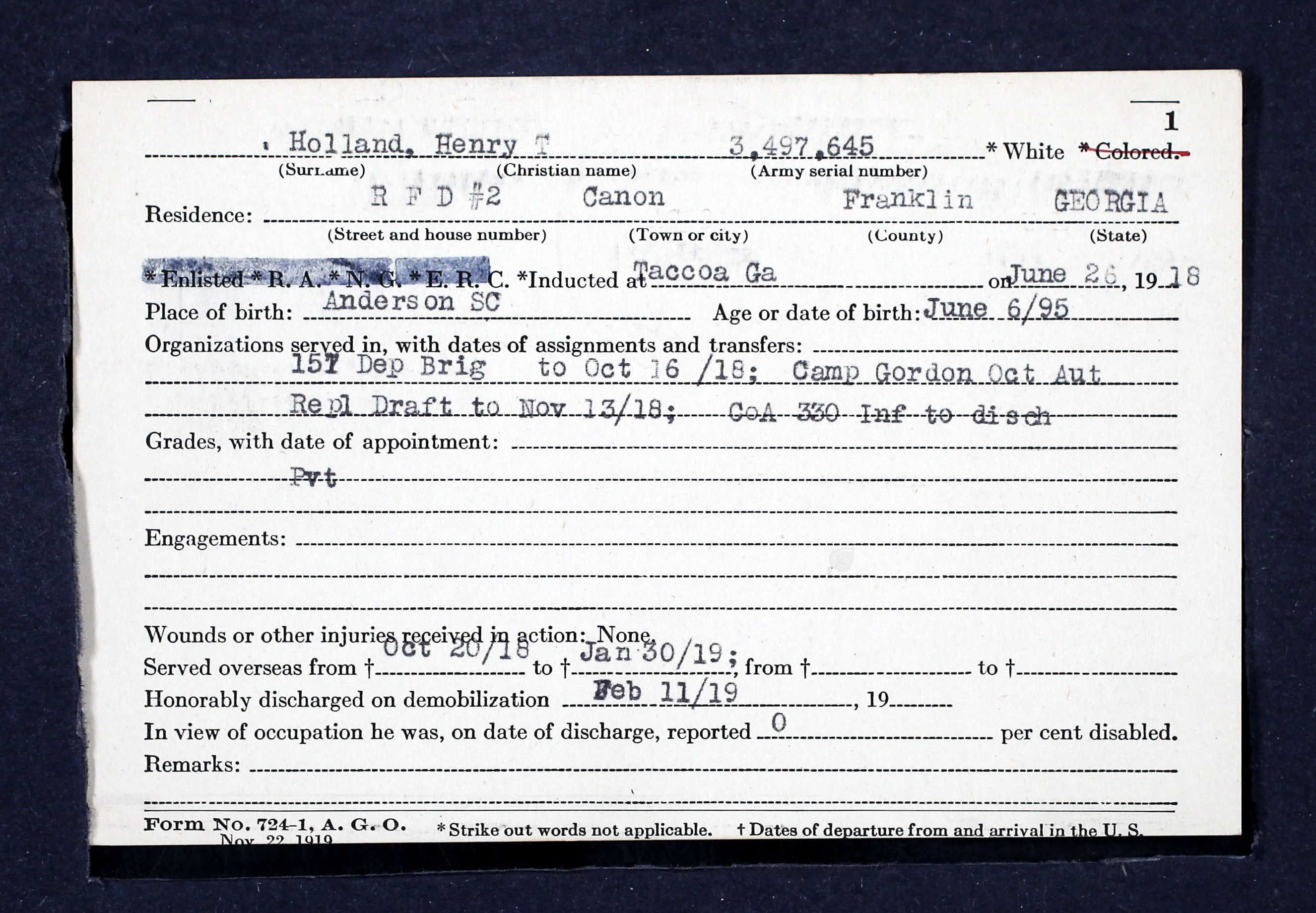 5bf2389076ca8 Henry T Holland WWI Service Card