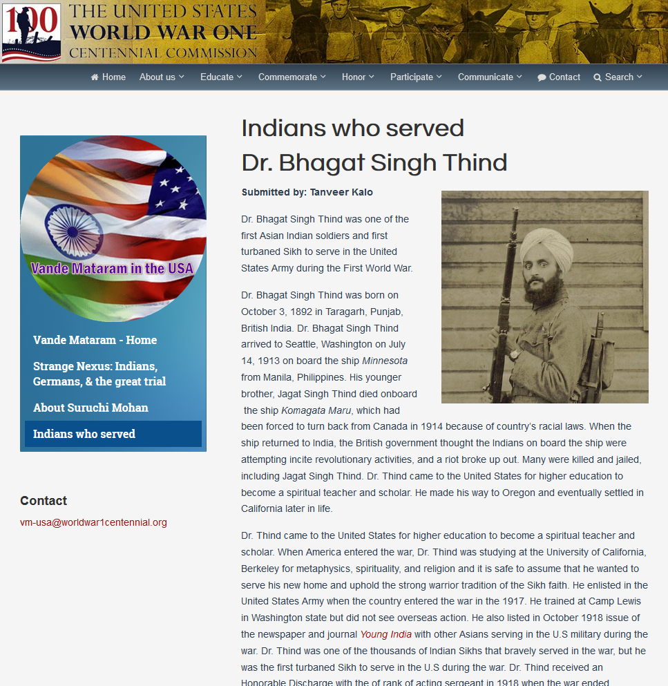 Indians who Served page capture