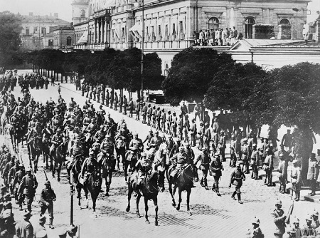 Prince Leopold of Bavaria, the Commander of the German Ninth Army, riding through streets of Warsaw after the victory parade to celebrate the capture of the Polish capital from the Russian Army.