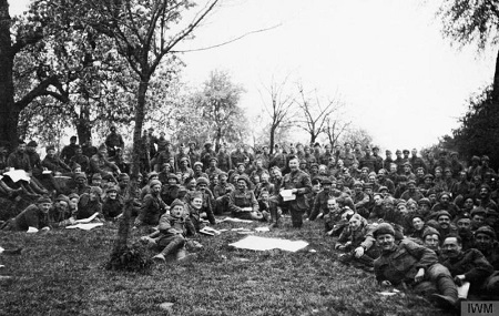 Battle of Aubers Ridge. Following a meeting of battalion commanders at 23rd Brigade HQ, Lieutenant Colonel C. B. Vandeleur briefs the 2nd Battalion, Cameronians (Scottish Rifles), on their role in the forthcoming attack. At this time the battalion were in billets at Rue de Bois.