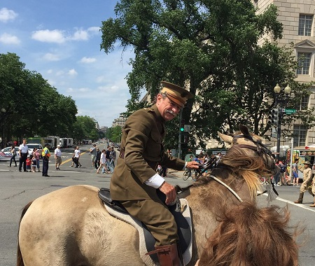 A General Pershing reenactor at the 2015 Memorial Day Parade in Washington DC.