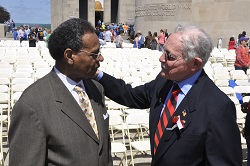 Commissioner James Whitfield and Congressman Emanuel Cleaver meet at Memorial Day weekend festivities at the National WWI Museum at Liberty Memorial