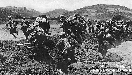 A section of the Royal Naval Division leaving their trench on the Gallipoli penninsula