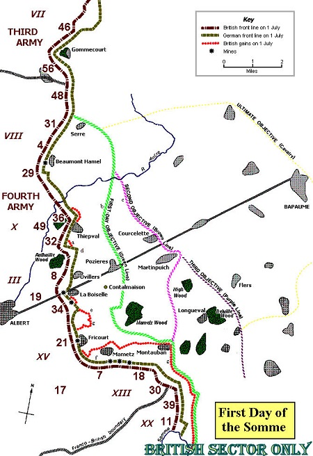 Map of the First Day of the Somme