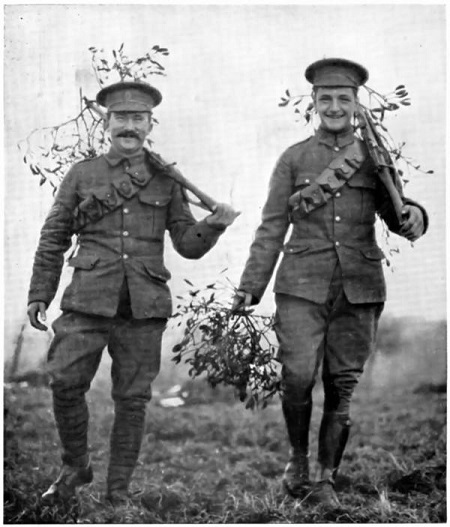 British soldiers bringing mistletoe up to the trenches, circa 1914.