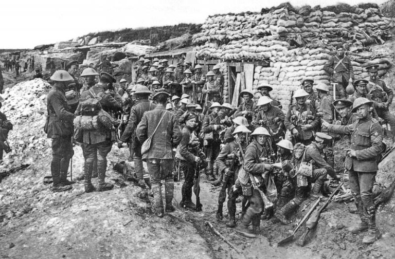 British troops in preparation for spring offensive at the Somme, 1916.
