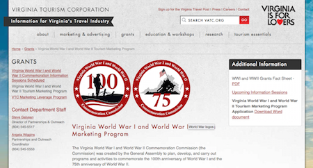 virginia ww1 ww2 Commission site