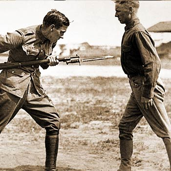 Training Camp Activities. Bayonet fighting instruction by an English Sergeant Major, Camp Dick, Texas.