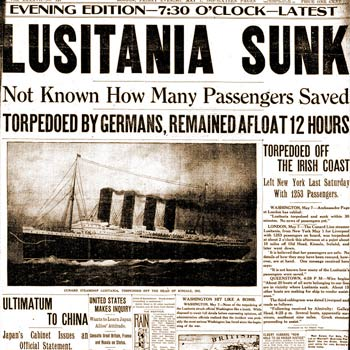 Lusitania sinking shift American anti-war sentiment