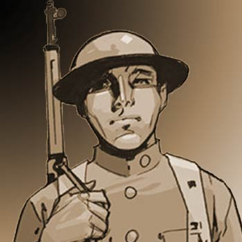 Yurok Native Army soldier drawn by Rahsan Ekedal