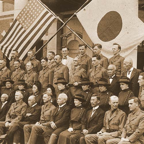 In WWI Japan fought on the side of the allies, declaring war in August 1914. Here Japanese and American Doctors and Nurses gather for a photo.