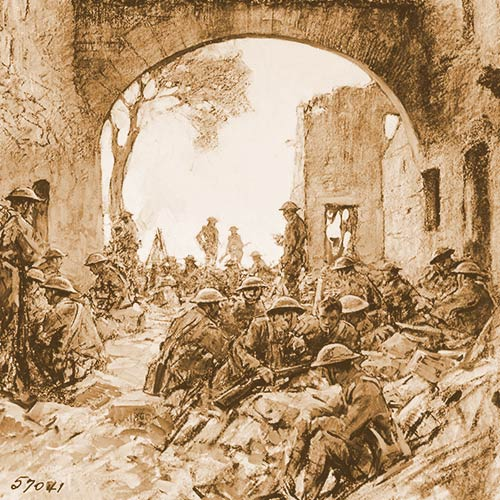 Troops waiting to advance at Hatton Chattel, St. Mihiel Drive - Drawing by Capt. W. J. Aylward