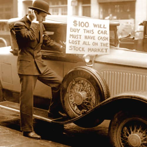 Investor Walter Thompson selling his roadster for $100 cash after the 1929 crash