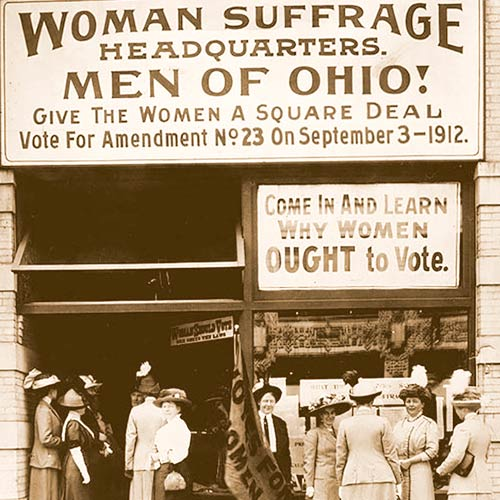 Storefront promoting the women's Suffrage
