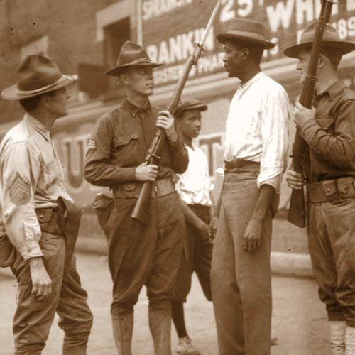 Soldiers confront black man during 1919 Red Summer Race riots