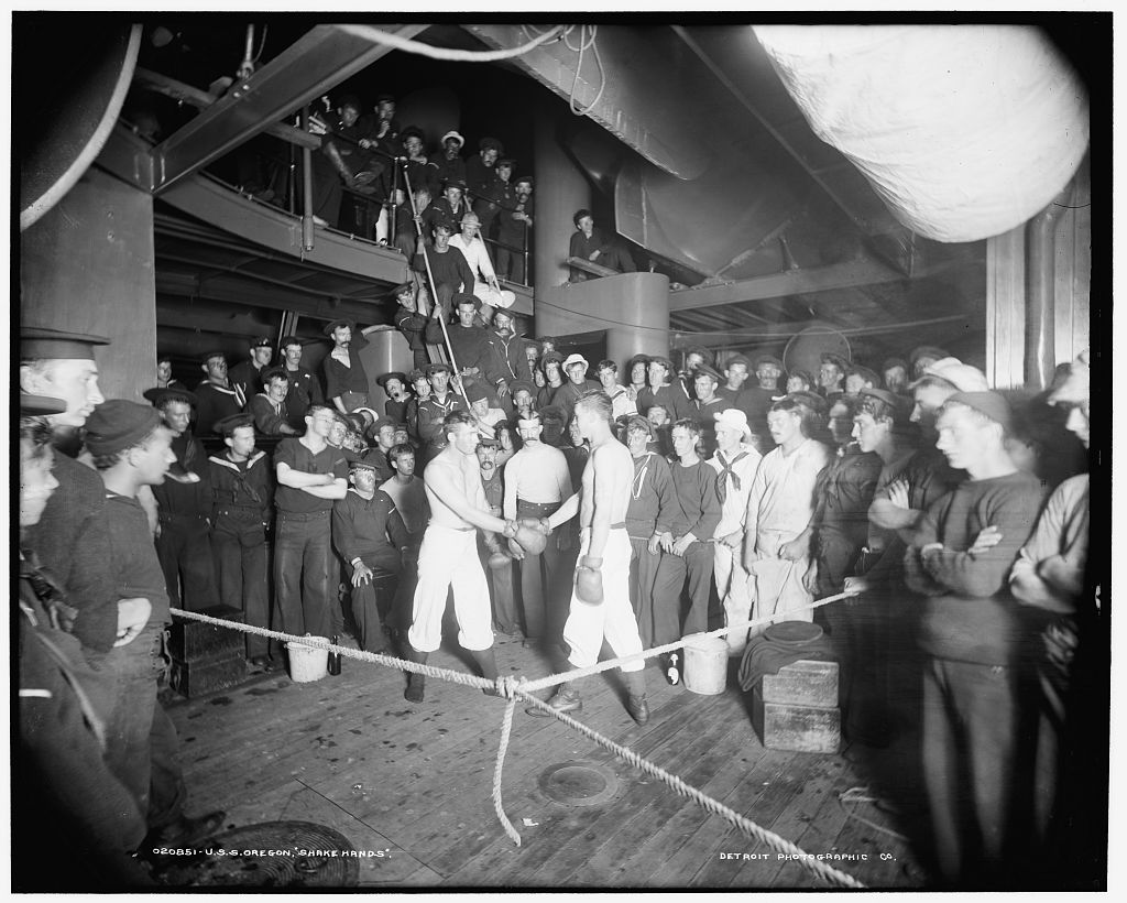 HESSsmoker boxing match USS Oregon source is Library of Congress