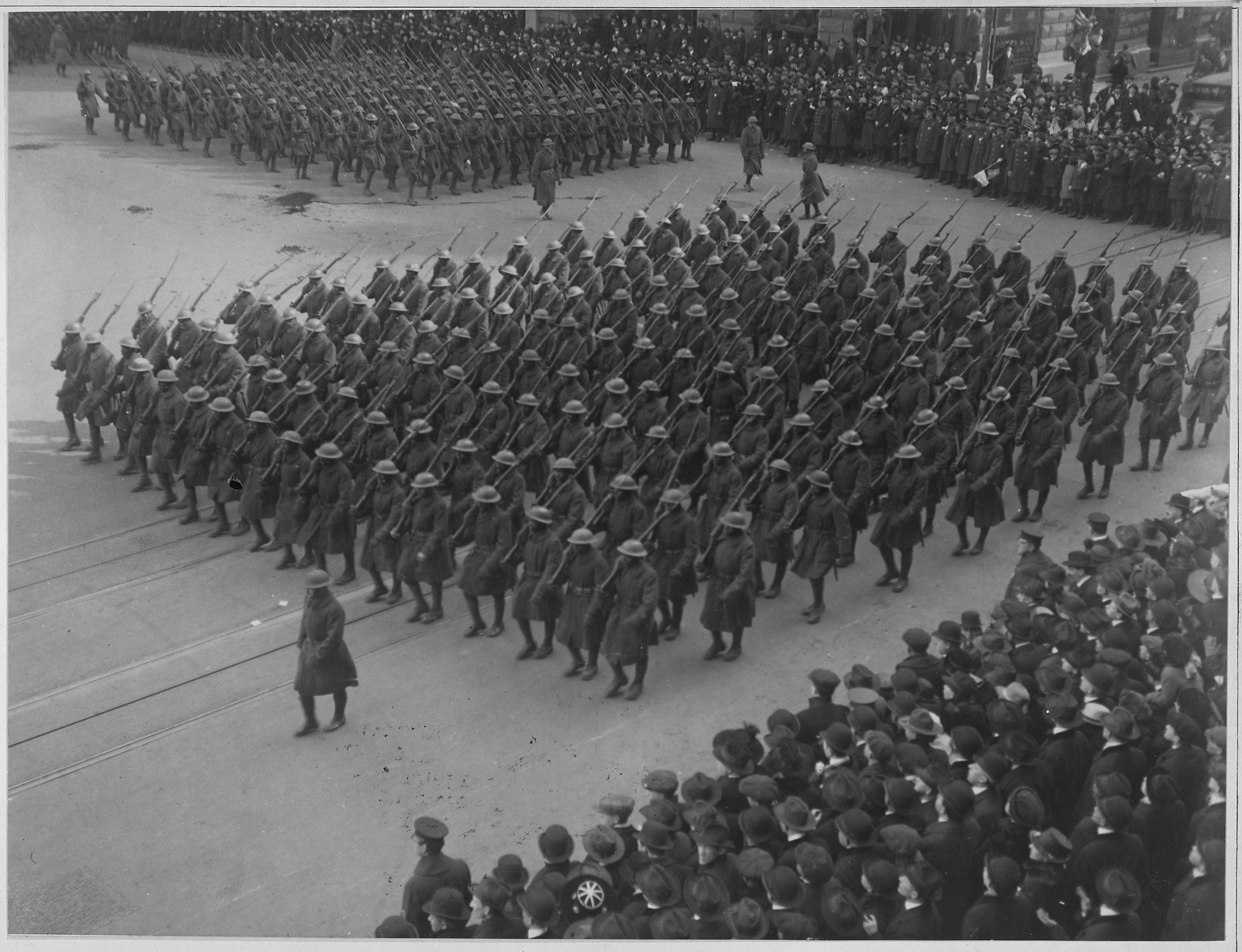 LambColonel Haywards Hell Fighters in parade. The famous 369th Infantry of African American fighte . . . NARA 533518