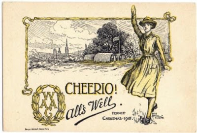 RuzichCheerio Alls Well WAAC Christmas 1918 by Nora Howard courtesy Tony Allen WWI Postcards
